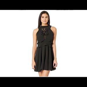 NEW Nordstrom black halter flare lace dress 8 M